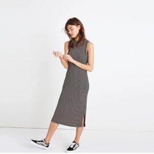 Madewell Ripped Mockneck Midi Dress in Stripe